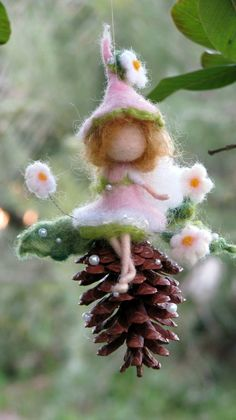 Items similar to Christmas Tree ornament, Needle felted fairy, Waldorf inspired doll Home decor on Etsy Felt Christmas Decorations, Felt Christmas Ornaments, Fairy Crafts, Felt Crafts, Needle Felted Ornaments, Felt Angel, Fairy Jars, Doll Home, Felt Fairy
