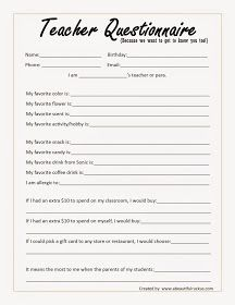 "A Beautiful Ruckus: Beginning of the Year ""Teacher Questionnaire"" + Printable"