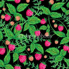 Raspberries seamless pattern with raspberry and leaves on black background — Ilustracja stockowa #96669708