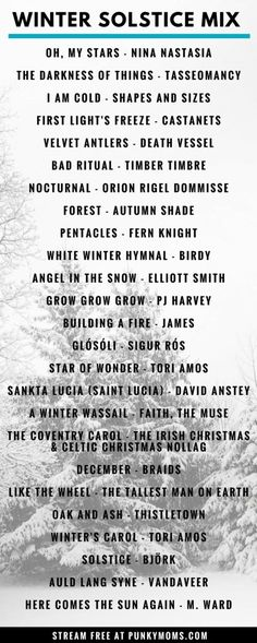 A winter solstice music playlist. A seasonally witchy mixtape for your midwinter celebrations Yoga Playlist, Spotify Playlist, Yoga Music, Music Music, Music Stuff, Music Pics, John Lenon, Winter Songs, Music Mood