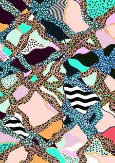 #ELECTRIC VIBES Art Print © Vasare Nar #textile #pattern #peach