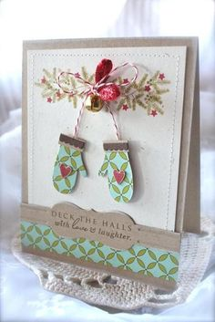"Deck the Halls Mitten Card Michelle Wooderson ""Mish"" ""Love Lives Here Holiday Stamp Set PTI"
