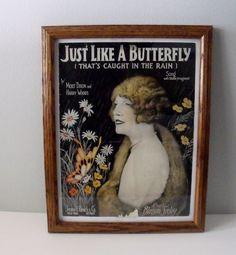 Vintage framed sheet music  Just Like A Butterfly  by wonderdiva, $20.00