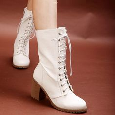 Lace Up Chunky Heel Martin Boots