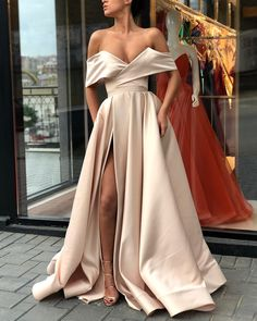 DESCRIPTION 2018 Sexy Satin A-line Off the Shoulder Formal Occasion Dress with Slit Prom Dresses ,Charming Prom Gown,Cheap Prom Dress,Evening Gowns This dress could be custom made, there are no extra cost to do custom size and color. A Line Prom Dresses, Prom Party Dresses, Occasion Dresses, Sexy Dresses, Strapless Dress Formal, Formal Dresses, Formal Prom, Long Dresses, Dress Prom