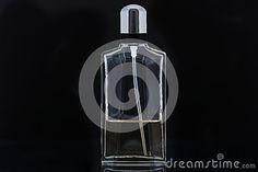 Perfume bottle on black background