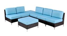 angelo:HOME Napa 5-Piece Outdoor Furniture Set, Sky Blue by angelo:HOME. $1441.42. 100% polyester. A stylish and comfortable addition to a patio, deck, sunroom or 3-season room. Designed by angelo surmelis. Outdoor performance fabric is flame proof and water resistant to prevent mildew, rust resistant frame. Each piece takes less than 15-Minute to assemble. Includes 2 loveseats, 1 chair and 2 ottoman/tables ottoman/table is interchangeable, remove the cushion to use as a table. ...