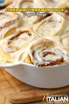 Cinnabon Cinnamon Roll Copycat Recipe will make you take a second thought, can it really be that good?  A sweetened roll with a thick cinnamon-sugar filling and a cream cheese frosting that you are likely to remember long after the cinnamon roll is gone! #copycat #breakfast #recipe @SlowRoasted