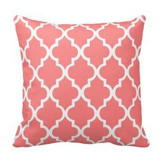 Shop Coral Quatrefoil Tiles Pattern Throw Pillow created by heartlockedhome. Coral Pillows, Accent Pillows, Quatrefoil Pattern, Pillow Reviews, Mellow Yellow, Tile Patterns, My New Room, Decoration, Decorative Throw Pillows