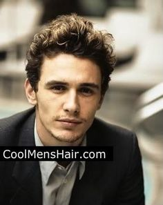 Photo of James Franco mens curly hairstyle.