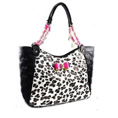 Betsey Johnson BE MY BOW SATCHEL BJ43925 LEOPARD Quilted Hearts w/ Fuchsia BOW! #BetseyJohnson #Satchel