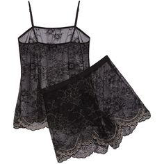 Cosabella - Metallic Lace Pajama Set (£73) ❤ liked on Polyvore featuring intimates, sleepwear, pajamas, black, lace pajamas, cosabella sleepwear, lace sleepwear, cosabella pajamas and cosabella pjs