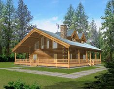 Log Style House Plan 87038 with 1 Bed, 1 Bath How To Build A Log Cabin, Build Your Dream Home, Building A Log Cabin, Barn House Plans, Log Cabin Plans, Barn House Kits, Log Home Floor Plans, Log Cabin Kits, Cabin In The Woods
