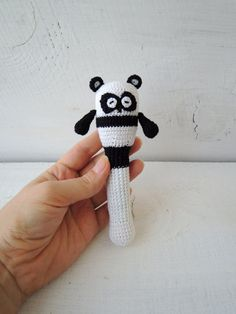 Baby rattle toy Cute Panda, Eco friendly rattle, Organic teething, Crochet wood baeds, Sensory kids toys, Gift ideas newborn, Funny animals
