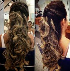 cabelos longos semi preso