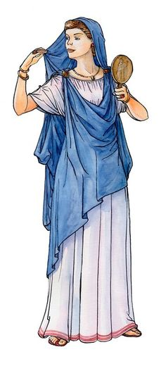 stola et palla. Stola looks more like a chiton that is gathered to a band at the neckline. Rome Fashion, Fashion History, Ancient Rome, Ancient Greece, Toga Romana, Rome Costume, Roman Hair, Biblical Costumes, Roman Dress