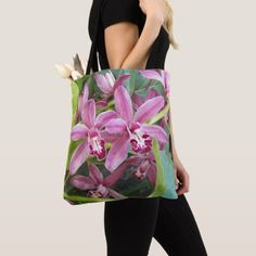 Pink Orchids Floral Tote Bag - floral style flower flowers stylish diy personalize