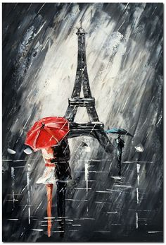 Paris Romance - Hand Painted Modern Abstract Oil Painting on Canvas NOT PRINT #ArtDeco