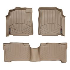 """WeatherTech 45044-1-3 Series Tan Front and Rear FloorLiner - FloorLiner(TM) In the quest for the most advanced concept in floor protection, the talented designers and engineers at WeatherTech(R) have worked tirelessly to develop the most advanced floor protection available today! The WeatherTech(R) FloorLiner(TM) accurately and completely lines the interior carpet giving """"absolute interior protection(TM)""""! The WeatherTech(R) FloorLiner(TM) lines the interior carpet up the front, back and…"""