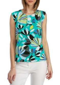 Kaari Blue  Jade Floral Cap Sleeve Top