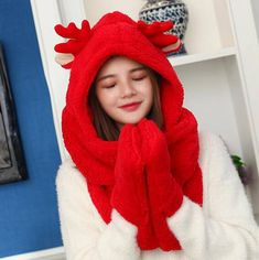 bac3e2f18ed27 Christmas reindeer costume hat with ears antlers winter plush hat scarf and gloves  all in one