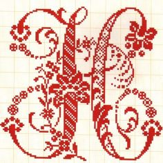 Letras grandes muy elegantes H - Abecedarios punto de cruz ...