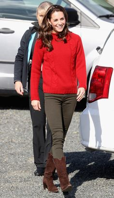 Catherine, Duchess of Cambridge arrives to head out on a fishing trip with Skidegate youth centre children during the Royal Tour of Canada on September 30, 2016 in Carcross, Canada. Prince William, Duke of Cambridge, Catherine, Duchess of Cambridge, Prince George and Princess Charlotte are visiting Canada as part of an eight day visit to the country taking in areas such as Bella Bella, Whitehorse and Kelowna