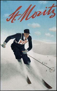 vintage ski poster. St. Moritz, Switzerland