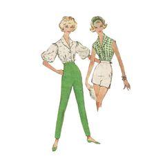 1960s Slim Flat Front High Waist Slacks or Short by Redcurlzs