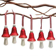 Set of Six Mushroom Christmas Decorations