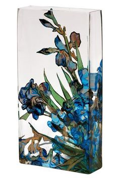 """Mother's Day Gifts Flower Vases Glass Vases 11.5"""" Tall Vases Gift Boxed Van Gogh Irises. Glass flower vase with transferware irises taken from Van Gogh Iris painting in the collection of the Metropolitan Museum of Art. Made using Transferware glass technique. Has a decoupage look but waterproof. Perfect flower vase or decorative vase. 11 1/2''H x 6''W x 2''D Gift boxed by the Metropolitan Museum of Art. Lovely wedding gift, birthday gift, anniversary gift, etc."""