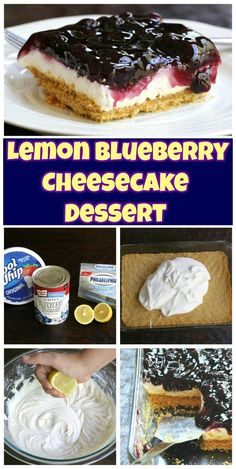 Easy Lemon Blueberry Cheesecake Dessert #cheesecake #dessert #food #foodblogger