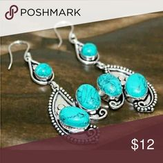 """Natural Turquoise and Silver Earrings Beautiful Natural Turquoise and Silver dangle earrings, size 2.8""""! Handmade with natural gemstone and druzy, each one of my pieces is unique and one of a kind! All orders are beautifully wrapped for safe delivery and ship out next business day! Please check out my other items. Handmade  Jewelry Earrings"""