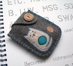 Blue Cat by sue bithell on Flickr - pouch with cute cat applique #sewing #bag