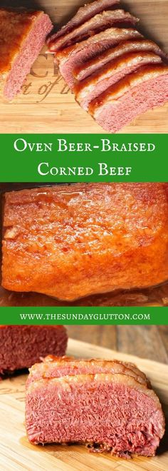 Oven Beer-Braised Corned Beef should be the center your St. Patrick's Day dinner! A flavorful braising liquid infuses the meat and the long, low cook tenderizes it to perfection. Never boil your corned beef again!! Corned Beef Brisket Oven, Dutch Oven Corned Beef, Oven Roasted Corned Beef, Cooking Corned Beef, Corned Beef Recipes, Corn Beef Oven, Roast Beef, Roasted Chicken, Fried Chicken