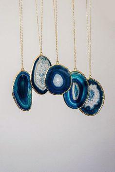 Blue Slice Agate Necklace, Boho Necklace, Tribal Necklace, Layering Necklace
