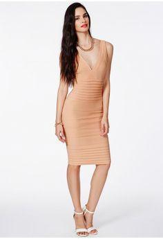 Missguided - Mulan Bandage Bodycon Midi Dress In Nude