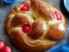 Greek Easter Bread   I deleted the fennel seed but added a tsp each of ground allspice and cardamom.  Do not use egg dye kits.  The color will run.  Dye naturally or leave them out.