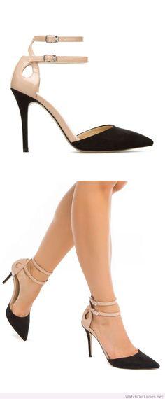Elegant black and nude pumps