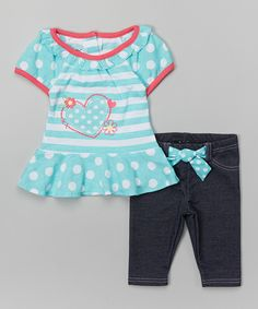 This Nannette Girl Aqua & Pink Heart Top & Leggings - Infant & Toddler by Nannette Girl is perfect! Baby Kids, Baby Boy, Cute Headbands, 2 Piece Outfits, Tops For Leggings, Carters Baby, Boy Fashion, Infant Toddler, Kids Outfits