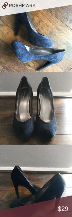 BCBGeneration Navy Suede Pumps Suede material, some scuffs, lightly worn, nice neutral color BCBGeneration Shoes Heels