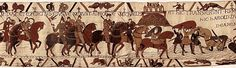 Bayeux Tapestry S9. Harold and William celebrate their new relationship by fighting together against Conan of Brittany, but disaster nearly strikes at Mont. St. Michel.