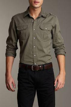 Calvin Klein Jeans Men Military Wash Long Sleeve Woven Shirt