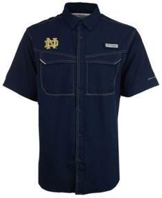 Columbia Men's Notre Dame Fighting Irish Low Drag Off Shore Button Up Shirt - Blue XXL