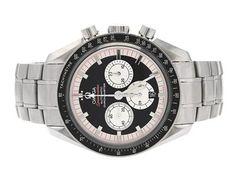 "OMEGA, Speedmaster, Michael Schumacher, The Legend Collection, Chronometer, ""Tachymètre"", Cal 3301 (A), Movement no. 78112843, Serial no. 78112843, PIC no. 3507.51.00, Ref no. SU 178.3202, Case no. 178.3202, chronograph (defect), men´s wristwatch, 42 mm, steel, self winding, sapphire crystal, date, defect, dent, original bracelet, ATT: length 180 mm, fold clasp, Ref no. 1620/887, cert, Jan 2006. #omega #watches"