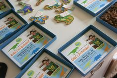 Dinosaur 3rd birthday party invitations with mailing boxes and krinkle filling by @AmberHousley