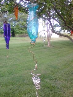 I have a bit of an artist mind and came up with creating this bottle tree of many colors. I have enjoyed looking for the bottles around town and while traveling…