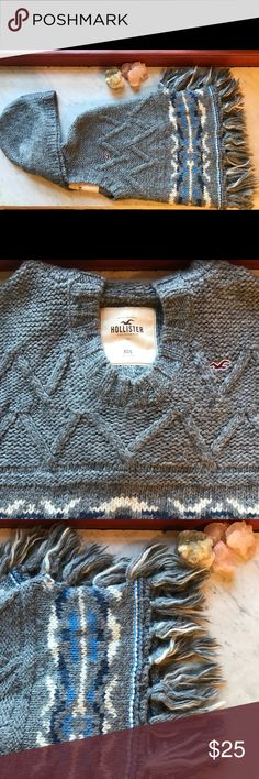 Hollister Knitted Poncho Good Condition/Minimal Pilling; Aztec Print; Perfect for Fall Hollister Sweaters Shrugs & Ponchos