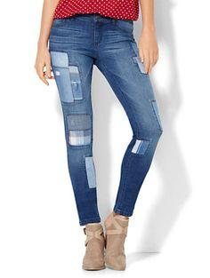 2ee02e20306 Patchwork Superstretch Legging - Indigo Blue Wash - Soho Jeans