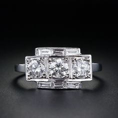 Three-Stone Diamond and Baguette Diamond Ring - 10-1-3895 - Lang Antiques